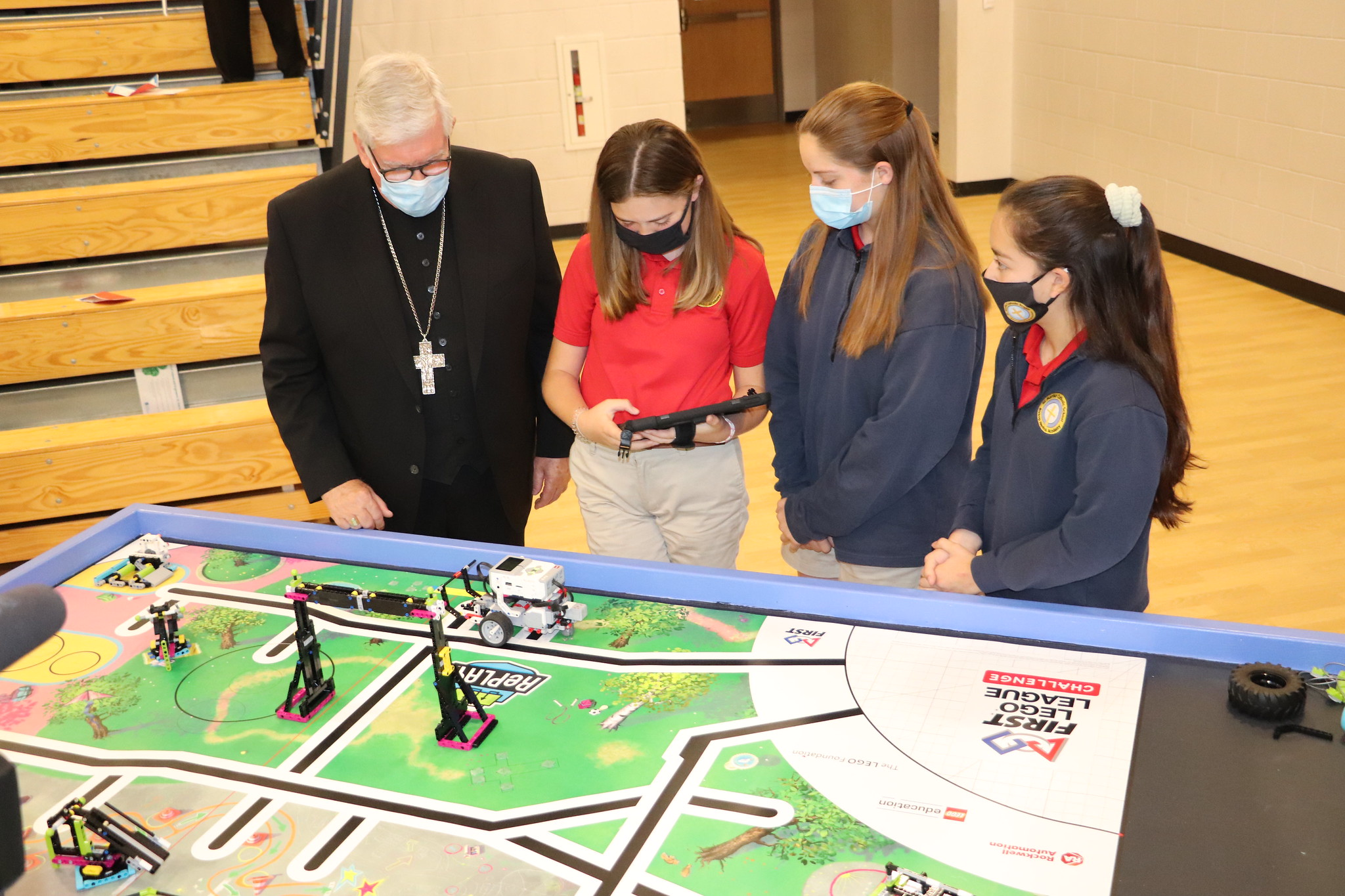 Bishop with Middle School LEGO FIRST Demo