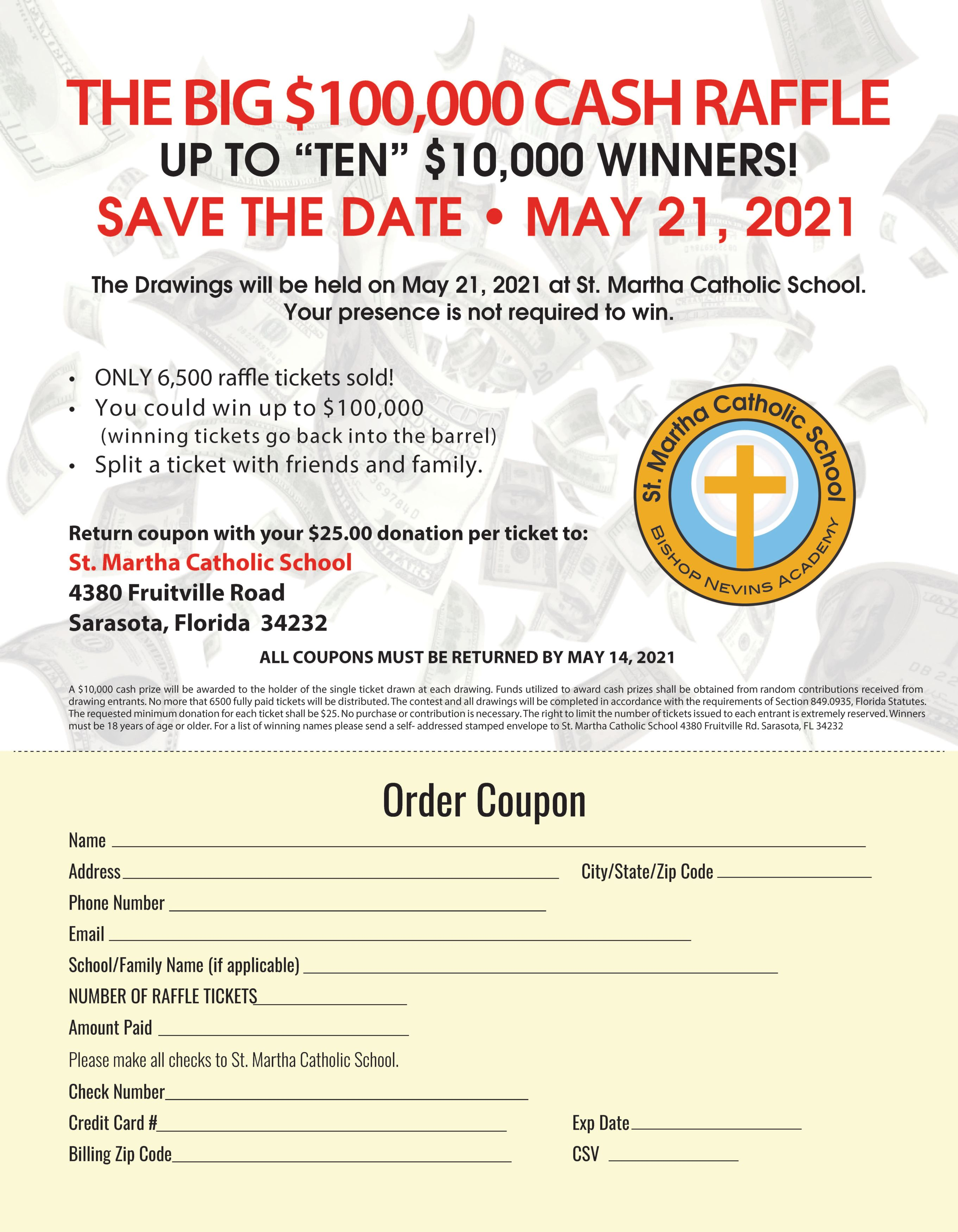 2021 Big Cash Raffle Flyer